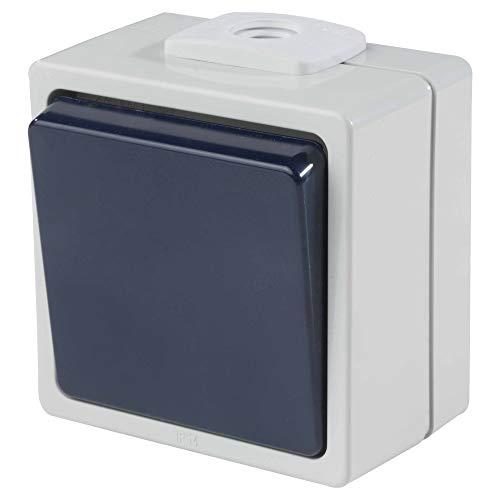 as - Schwabe Aufputz-Schalter - Wechselschaltung (2,5 mm² Querschnitt) - Robuster Wippschalter (230 V / 10 A / 16 A) für Feucht-Raum & Außen-Bereich - IP54 - hellgrau / blau - Made in Germany I 62450