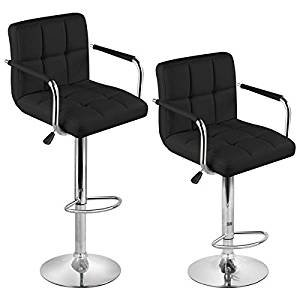 2 X BLACK BREAKFAST BAR STOOLS FAUX LEATHER BARSTOOLS KITCHEN STOOL NEW CHAIRS