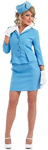 Fancy Me Damen Sexy Rot oder blau Luft Stewardess Karren Dolley Hostess Stewardess Uniform Junggesellinnenabschied Kostüm Kleid Outfit UK 8-26 Übergröße - Blau, - Stewardess Kostüm Übergröße