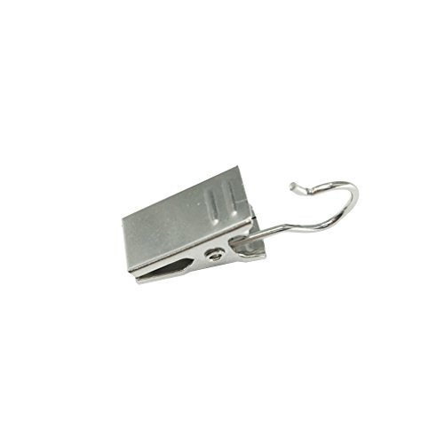 Providethebest 10pcs Duschvorhang Clips Heavy Duty Silber Haken Federschellen Aufhänger Clips Glider Peg Pins