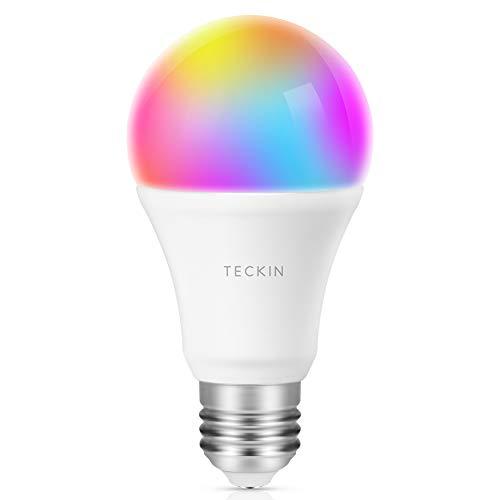 TECKIN Bombilla Inteligente LED WiFi con luz cálida 2800k-6200k + RGB lámpara color cambiable Funciona con móvil, Google Home , E27 8W (no se requiere hub)
