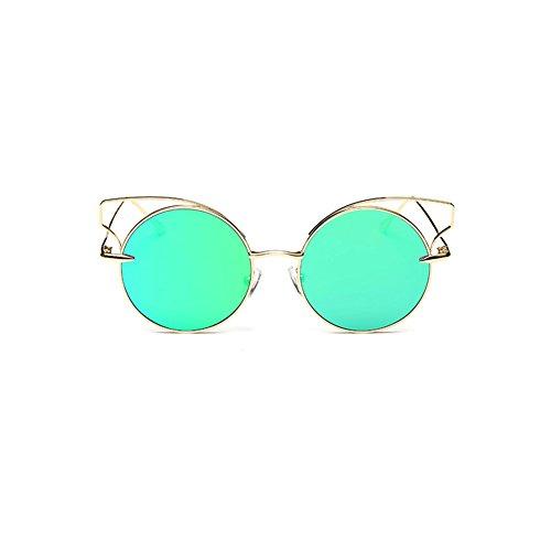 Frauen Katzenaugen Sonnenbrille Marke Design Sonnenbrille Runde Legierung Rahmen Sonnenbrillen UV400 Schutz (Grün)