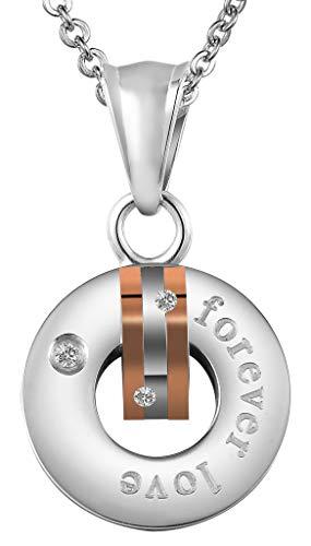 Beydodo Edelstahl Damen Kette Anhänger Zirkonia Rund Kreis Forever Love Rosegold Halskette für Frauen Partnerkette