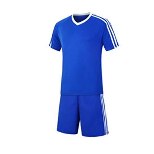 Inlefen Football Training Suit Fußballtrikot kurzärmliges Fußballtraining Fußballbekleidung Set EIN Fußballtrikot und EIN kurzes Jugend Set A1Farbe blau -24