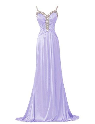 Dresstells, Robe de soirée Robe de cérémonie Robe de gala en satin emperlée bretelles spaghetti col en cœur Lavande