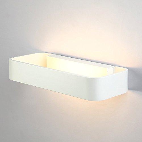Glighone 9W LED Wandlampe Innen Modern Weiss Wandleuchte Wandbeleuchtung Up and Down Flurlampe aus Aluminium Warmweiss für Treppenhaus Wohnzimmer Schlafzimmer Küche Esszimemr Hotel usw.