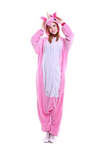 Erwachsene - Feelme Tier Pyjama Cartoon Fasching Animal Sleepsuit Einhorn Onesies Karneval Cosplay Kostüm Unisex Kigurumi (Katze, Einhorn Kostüm)