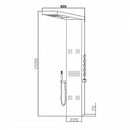 31cmvuX3m9L. SS416  - Panel de Ducha Termostático Hidromasaje Completo con Alcachofa a Cascada y Lluvia