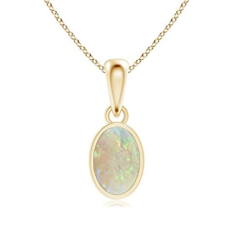 Oval Opal Solitaire Dangle Pendant in 14K Yellow Gold (6x4mm
