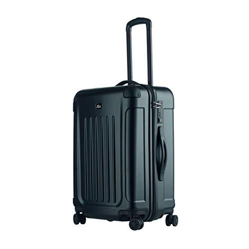 JSA Reisetrolley M, Rollkoffer aus ABS Kunststoff, Reisekoffer mit 4 doppelten 360° Leichtlaufrollen Koffer, 61 cm, 60 L, Schwarz Matt