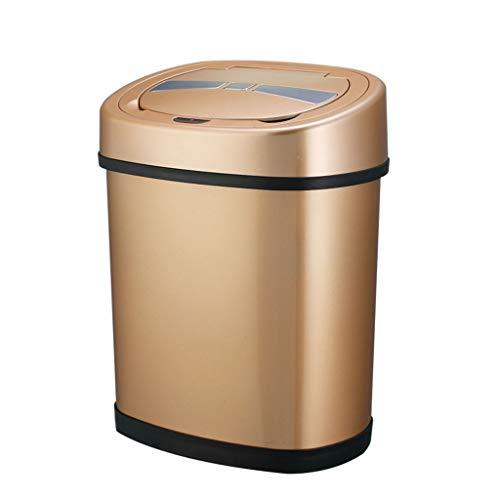 YHNUJMIK Smart Automatique Poubelle Anti-odeurs à Ouverture Rapide pour Salle de Bains Multifonction en Acier Inoxydable à Induction (Or)