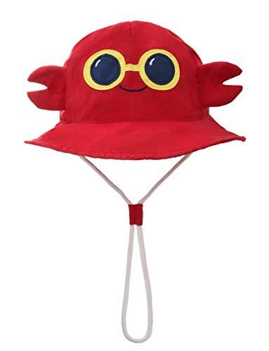 Foruhoo Baby Sonnenhut Kinder Hut, Sommerhut Mütze for Jungen Mädchen mit Verstellbar Kordelzug (54cm / 4-8 Jahre,Krabbe) -