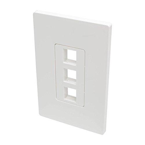 Tripp Lite Single-Gang 3-Port Universal Keystone Wall Plate, Cat5/6/6a, USB, HDMI, DisplayPort, RCA, White (N080-103) Gang Wall Plate 3 Port