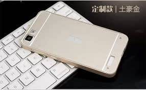 SDO™ Metal Bumper Frame Case with Acrylic Mirror Back Cover Case for Vivo V1 (Silver) + Micro USB Charging Cable
