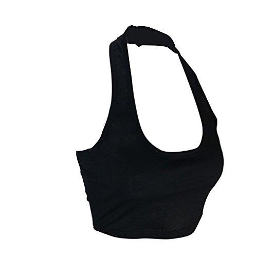 LUFA Summer Women's Halter Tops en couleur unie sans manches Vestes courtes T-shirts noir