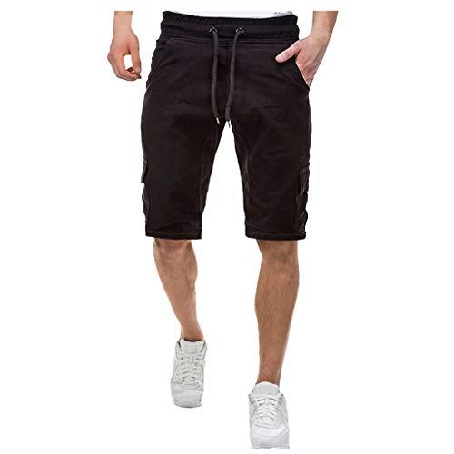 Xmiral Short Hosen Herren Einfarbige Verband Shorts mit Mehreren Taschen Cargohose Overall Elastische Taille Tunnelzug Sportshorts(Schwarz,M)