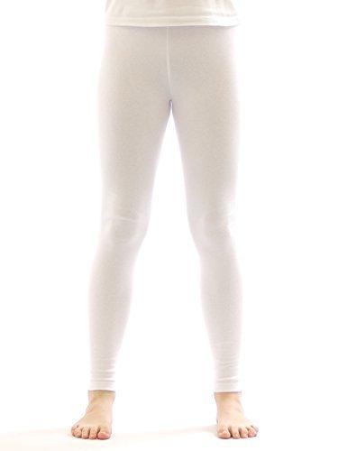 Kinder Thermo Mädchen Leggings leggins Hose lang aus Baumwolle Fleece Futter weiss 134