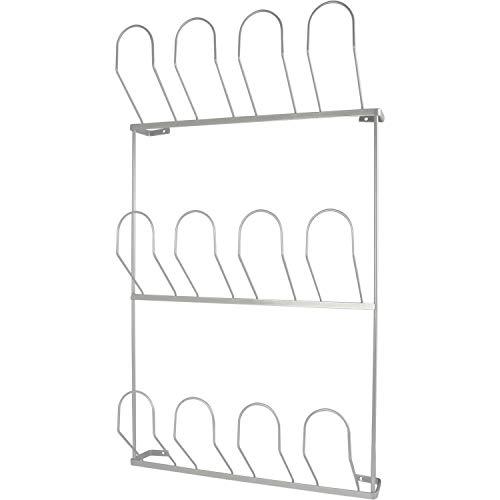 Gedotec Schuhablage Schuhregal zum Schrauben an die Wand | Stahl silber RAL 9006 | Schuhhalter für 6 Paar Schuhe | Breite: 410 mm | 1 Stück