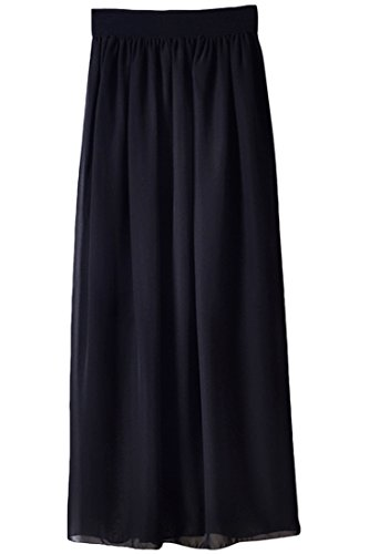 Azbro Woman Colorful Vibrant Candy Color Chiffon Pleated Swing Skirt Black
