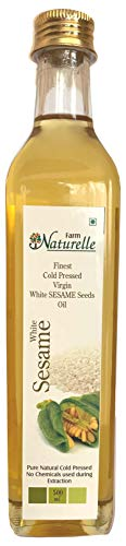 Farm Naturelle Glass Bottle Virgin Cold Pressed White Sesame Seed Cooking Oil (500 ml)