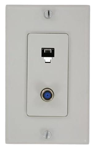 Leviton 40159-W Decora Telephone/Video Wall Jack Assembly, 6P4C + F, Screw Terminals, White