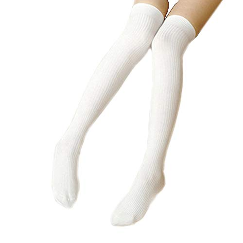 Donna sexy sopra al ginocchio calze alte scaldamuscoli all\'uncinetto calze a vita alta (bianco)