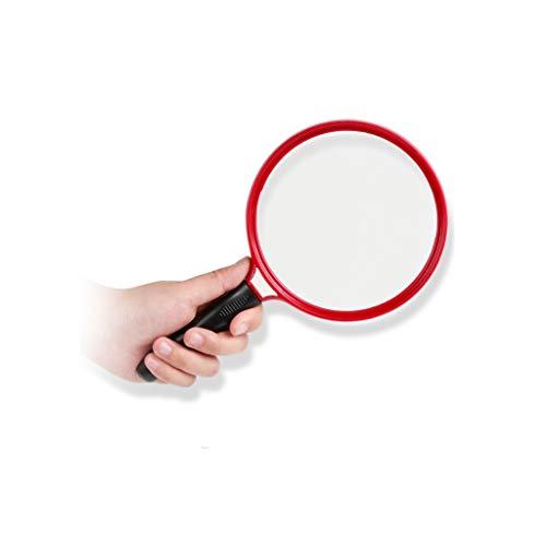 Loupe pour la lecture Das Handobjektiv vergrößert den alten Mann mit einer Lupe und das optische Glas mit großem Objektiv betrachtet die fortgeschrittenen Kinder-Schülerwerkzeuge.