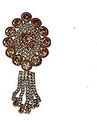 ede62f0b4b1 Rambha Party Wedding wear Designer Fancy Crystal Golden Saree Pin/Sari Pin/ Brooch/