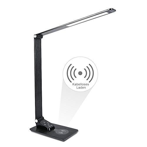 LED Schreibtischlampe Wanjiaone Metall Schreibtischlampe Tageslicht, Tageslichtlampe mit USB Drahtlosem Aufladen des Handysmit ,Energieeffizient Eisengrau /5 Helligkeitsstufen & 3 Farbstufen/7W
