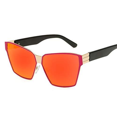 Personalisierte große Rahmen-Metallpolarisierte Fahrer-Sonnenbrille-Tendenz-polarisierte Sonnenbrille Brille (Color : Rot, Size : Kostenlos)