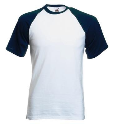 Fruit of the Loom Baseball T-Shirt Weiss - Navy,XL -