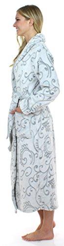 Sleepyheads zweifarbiger, langer Morgenmantel aus Fleece für Damen Grau Blumen