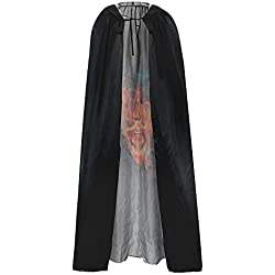 ZARLLE Largo Capa con Capucha Terciopelo Disfraz de Halloween Skull Print Festival Horror Skeleton Costume Holiday Party Club para Mujeres Hombres Halloween Fiesta Disfraces (Talla única, Negro)