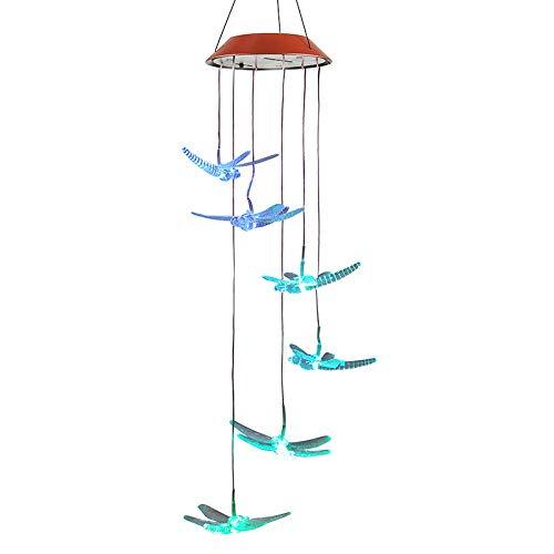PanDaDa Carillon à Vent Solaire LED Lumière Changeant de Couleur Lampe Jardin Patio Porch Mobile d'exterieur intérieur Décor Lumineux,Libellule Transparente