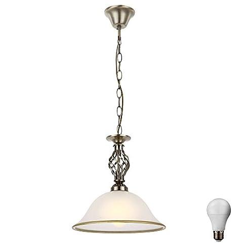 Landhaus Stil Hänge Pendel Lampe Wohn Zimmer Altmessing Glas Leuchte im Set inkl LED Leuchtmittel