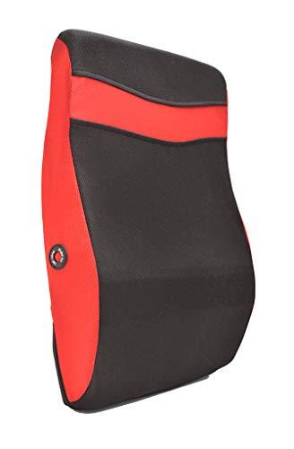 Ideas In Life Rückenmassagekissen mit Vibrationsfunktion - Rückentherapie, Massagegerät, Lendenwirbelstütze, 2 Massage-Modi, entspannt die Muskeln - Verwendung im Home, Büro, Reisen und mehr red rot