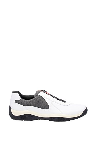 Sneakers Prada Uomo Pelle Bianco e Grigio Ghiaia 4E2905BIANCOGHIAIA Bianco 43EU