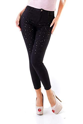 OSAB-Fashion 10884 Damen Hose Chino Treggings Perlen Glitzer Stretch-Hose Skinny Übergrößen