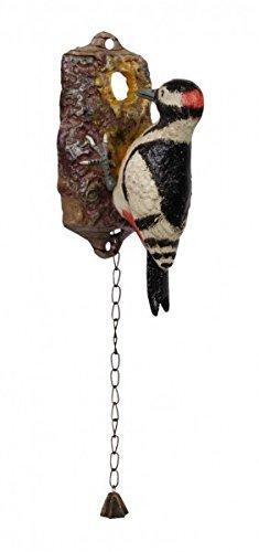 Luxus Pur UG Bunter Woodpecker Helmspecht Specht Gusseisen Türklopfer mit Glocke Garten Eisen