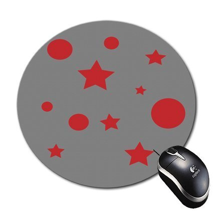 Blueberry design Stars and Bubbles Illustrations in Red Grey background Round Circle mouse pad Mousepad-regalo perfetto per tutte le occasioni