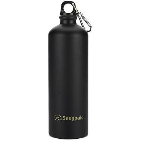 Snugpak Aluminio Viaje Bidón Militar Bebidas - Negro, 1 Litro