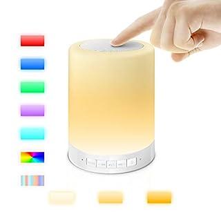 AFAITH Drahtloser Bluetooth Lautsprecher-Lampen-Lautsprecher Multifunktions-beweglicher Musik-Ton-Kasten LED-Noten-Kontrolllampe-Kind-Nachtlicht (3 Dimmen-Niveaus Noten-Beleuchtung-Sensor-Schalter Augen-Schutz-Lichtquelle, Bunt und Dimmbar) und Wecker-Warnung mit eingebautem Nachladbare 1800mAh Batterie - TF-Karten-Funktion - Freisprecheinrichtung - USB-Aufladung Bluetooth-Lautsprecher Geeignet Für Innen- und Außenanwendungen Kinder Home Deco Arbeiten Lesen Camping SA076
