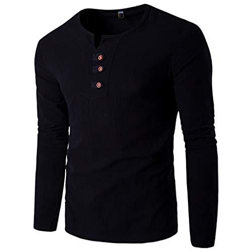 Camicie di Cotone da Uomo Vendita Casual Pulsante Manicotto Lungo Fit Loose Tops Plus Size(Nero,x-Large)