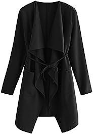Romwe Women's Raw Cut Hem Waterfall Collar Long Sleeve Wrap Trench Pea Coat Card