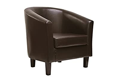 Brown Faux Leather Tub Chair Armchair club Chair for Dining Living Room & Cafe - cheap UK light store.