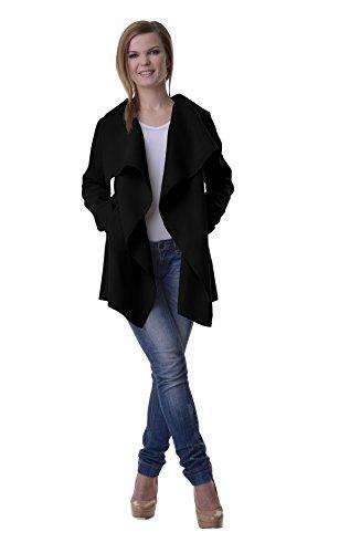 Damen Blogger Wasserfall Kragen Mantel Übergangs Jacke 34 36 38 One Size B102 Schwarz/Hüftlang