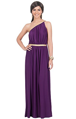 KOH KOH® Plus Size Damen Schulterfrei Cocktail Maxikleid Griechische Göttin Elegantes Abschlussfeier Kleid, Farbe Violett / Lila, Größe 3XL / 3X Large (Plus Kostüme Size Clearance)