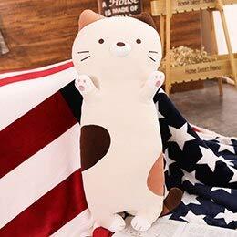 Zyyjg cuscino creativo di simulazione peluche gatto colorato peluche animali lungo corpo gatti cuscino morbido peluche bambini adulti che dorme partner 70 / 100cm 100cm arrabbiato