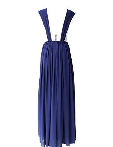 Dressystar Robe de demoiselle d'honneur/de soirée/de Cérémonie longue, à Bretelles, à Col en Cœur, Plissée, au drapé, avec une ceinture, en Mousseline Noir