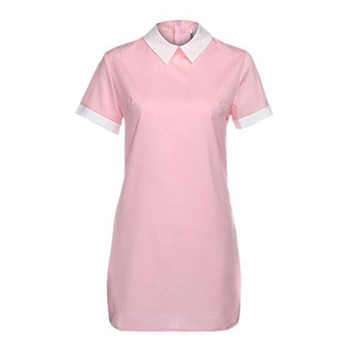 Frauen Röcke VENMO Frauen Sommer Lässige Kurzarm Abendkleid Kurzes Minikleid Pink